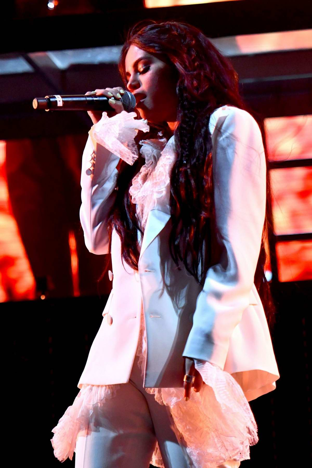 Selena Gomez performs on the Outdoor Stage at Coachella in Indio, California