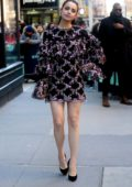 Sofia Carson looks stunning in a short ruffle dress while visiting AOL Build Studio in New York City