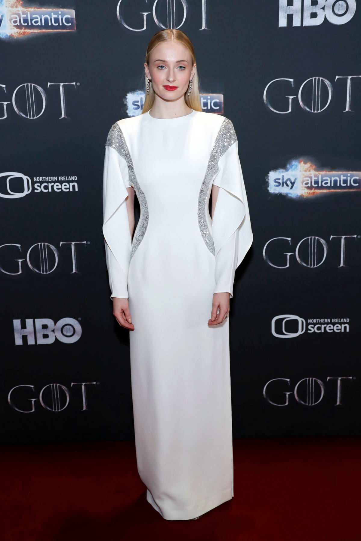 Sophie Turner attends 'Game of Thrones' premiere held at Waterfront Hall in Belfast, Northern Ireland