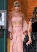 Taylor Swift looks stunning in a pink and yellow gown as she heads to the 2019 Time 100 Gala in New York City