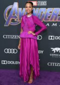 Zoe Saldana attends the World Premiere of 'Avengers: Endgame' at the LA Convention Center in Los Angeles