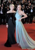 Adele Exarchopoulos and Virginie Efira attend the screening of 'Sibyl' during the 72nd annual Cannes Film Festival In Cannes, France