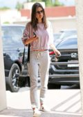 Alessandra Ambrosio steps out in a pink sweatshirt and grey sweatpants to run errands in Los Angeles