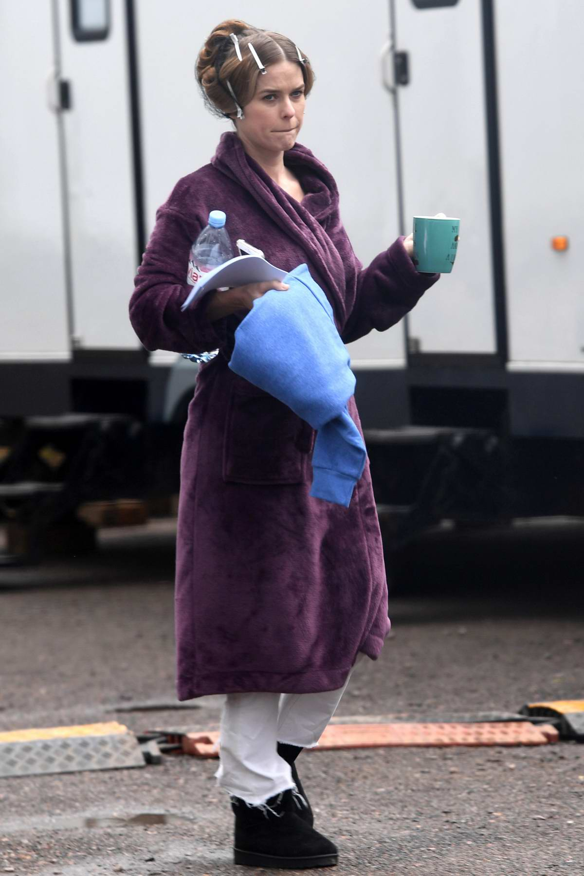 Alice Eve spotted on set for the New ITV series 'Belgravia' in London, UK