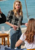 Amber Heard seen at the Martinez Beach during the 72nd annual Cannes Film Festival in Cannes, France
