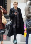 Amber Heard shops for drugstore makeup in New York City