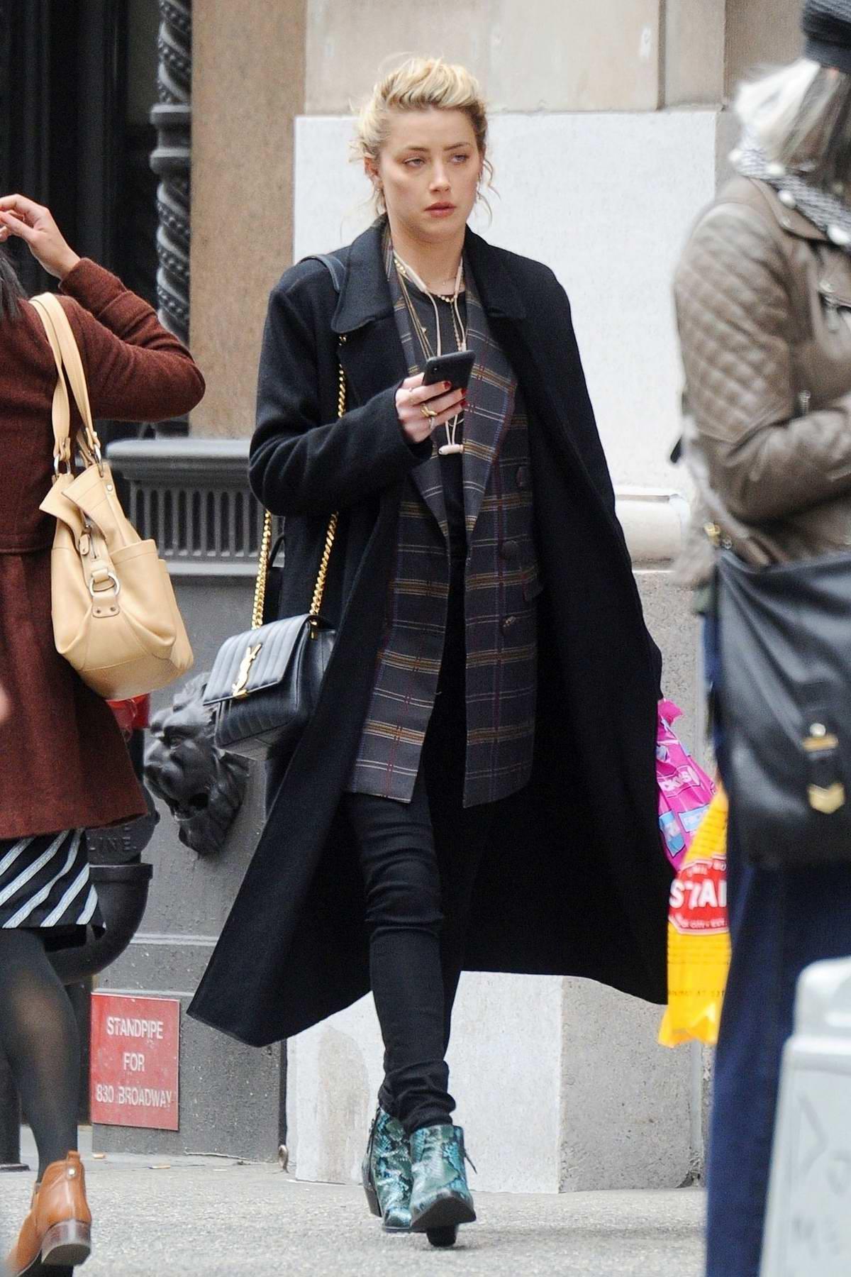 Amber Heard shops for drugstore makeup in New York City