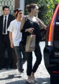 Angelina Jolie seen leaving after lunch with her son Pax at Cecconi's in Los Angeles