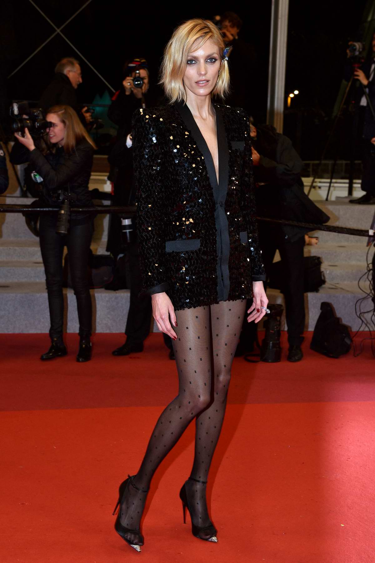 Anja Rubik attends the screening of 'Lux Aeterna' during the 72nd annual Cannes Film Festival in Cannes in Cannes, France