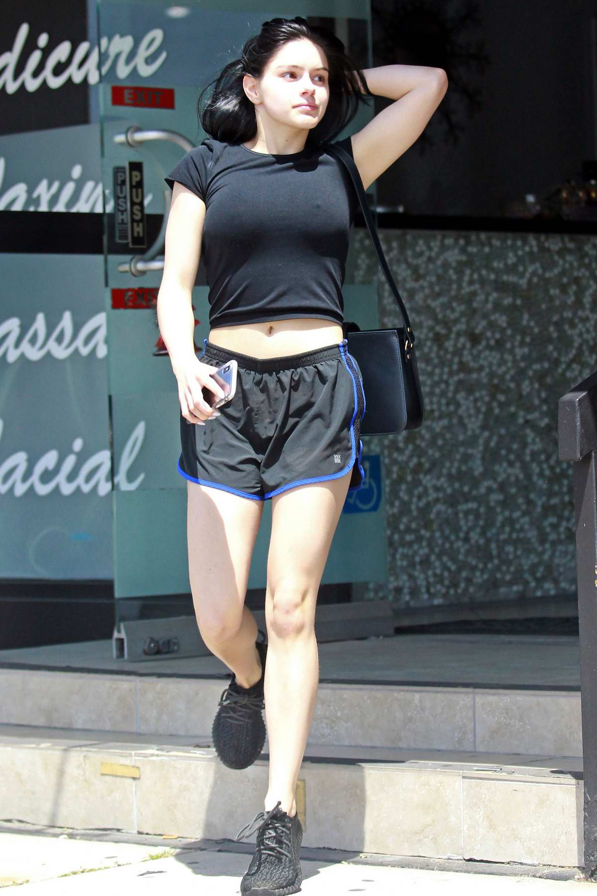 Ariel Winter flaunts her legs in black shorts while out shopping and visiting a nail salon in Los Angeles