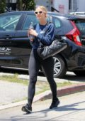 Ashlee Simpson steps out in a cropped navy sweatshirt and black leggings as she hits the gym in Los Angeles