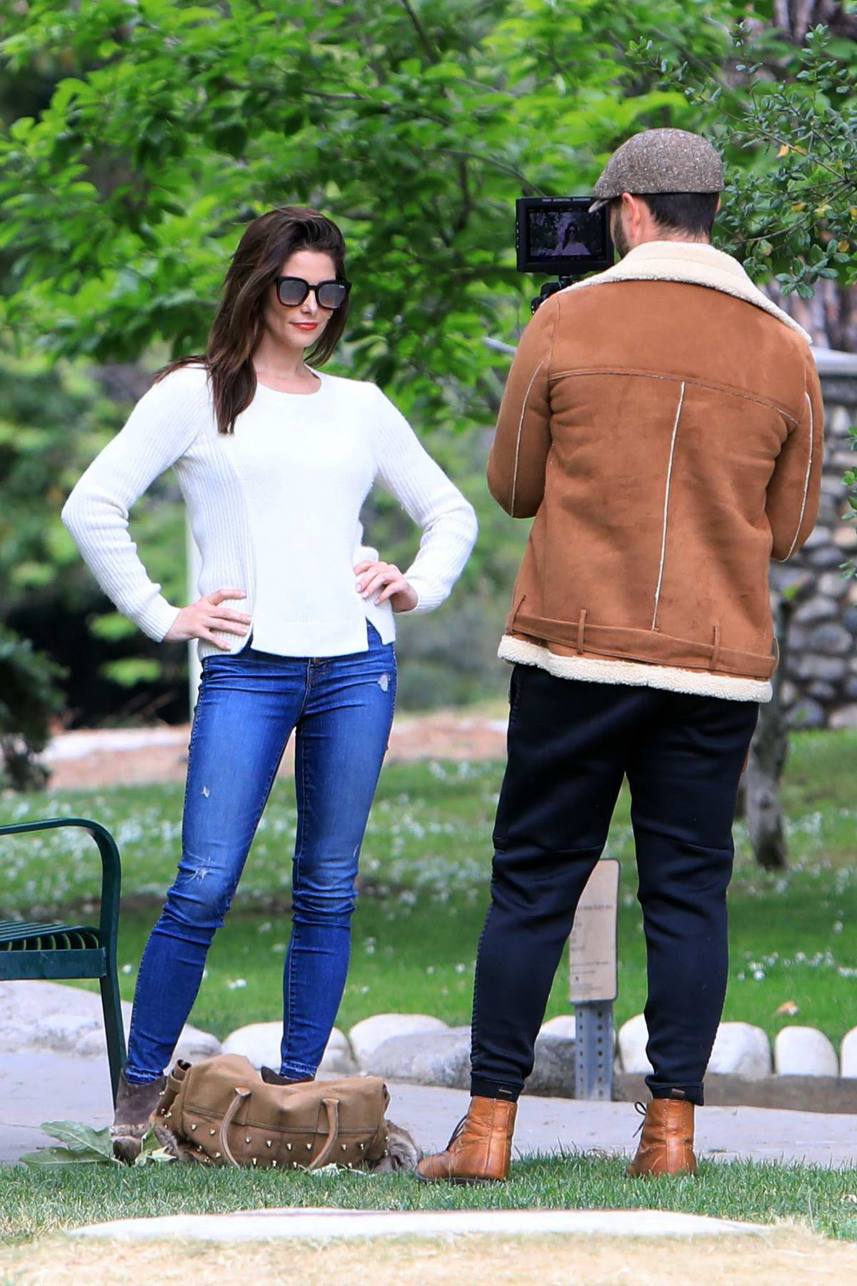 Ashley Greene strikes a pose while husband Paul Khoury films her on a RED camera at the park in Beverly Hills, Los Angeles