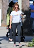Ashley Tisdale goes about her day after her workout at Training Mate in Studio City, Los Angeles