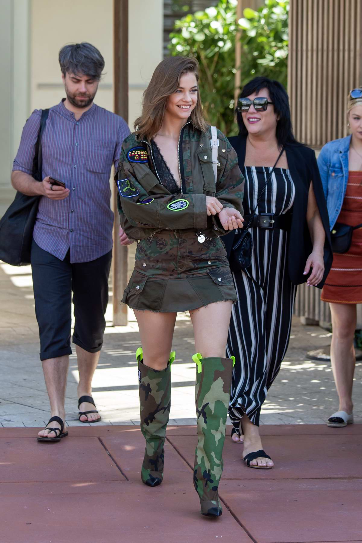 Barbara Palvin looks amazing in Camo as she leaves her hotel in Miami Beach, Florida