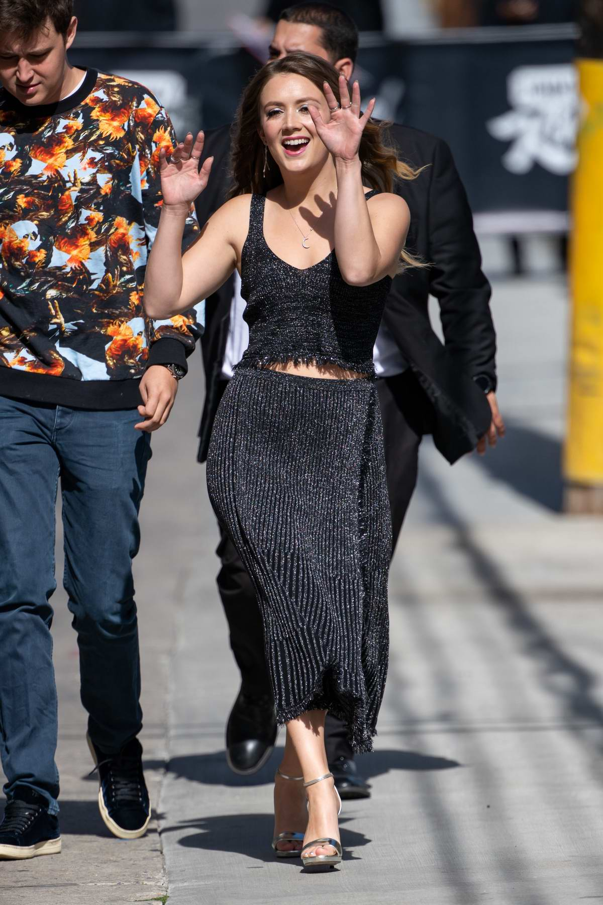 Billie Lourd is all smiles as she arrives for an appearance on Jimmy Kimmel Live in Hollywood, California