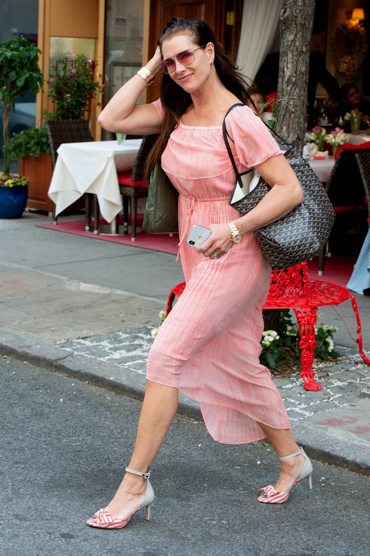 Brooke Shields looks lovely in a pink dress as she leaves Nello restaurant in New York City
