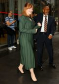 Bryce Dallas Howard looks classy in a green dress as she leaves SiriusXM in New York City