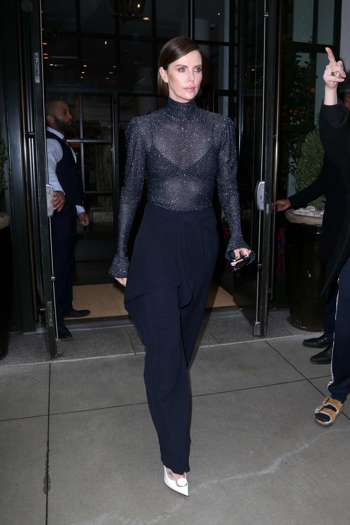 Charlize Theron looks stylish in a navy blue attire while out to promote her new movie 'Long Shot' in New York City