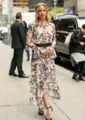 Christina Applegate seen wearing a floral print dress as she departs The Late Show with Stephen Colbert in New York City