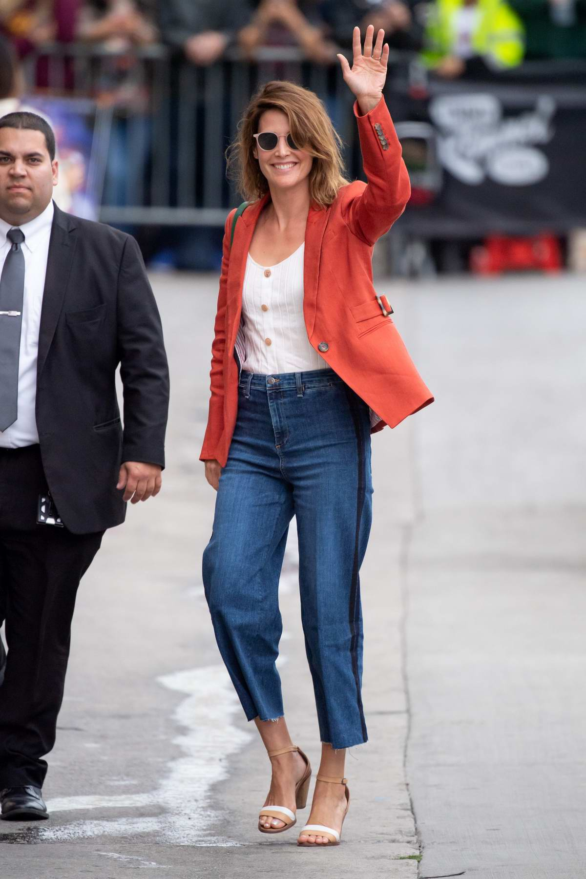 Cobie Smulders is all smiles as she arrives for an appearance on Jimmy Kimmel Live! in Hollywood, California