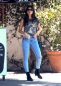 Eiza Gonzalez rocks a graphic tee and skin tight jeans as she leaves lunch in West Hollywood, Los Angeles
