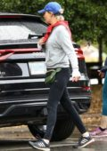 Elizabeth Banks dons a grey sweatshirt with black Nike leggings and Adidas trainers while out for a hike in Los Angeles