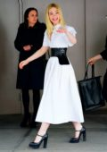 Elle Fanning looks amazing in a white dress as she leaves an event during 2019 Tribeca Film Festival in New York City