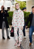 Elle Fanning wore a floral print outfit with clear sunglasses while out during the 72nd Cannes Film Festival in Cannes, France