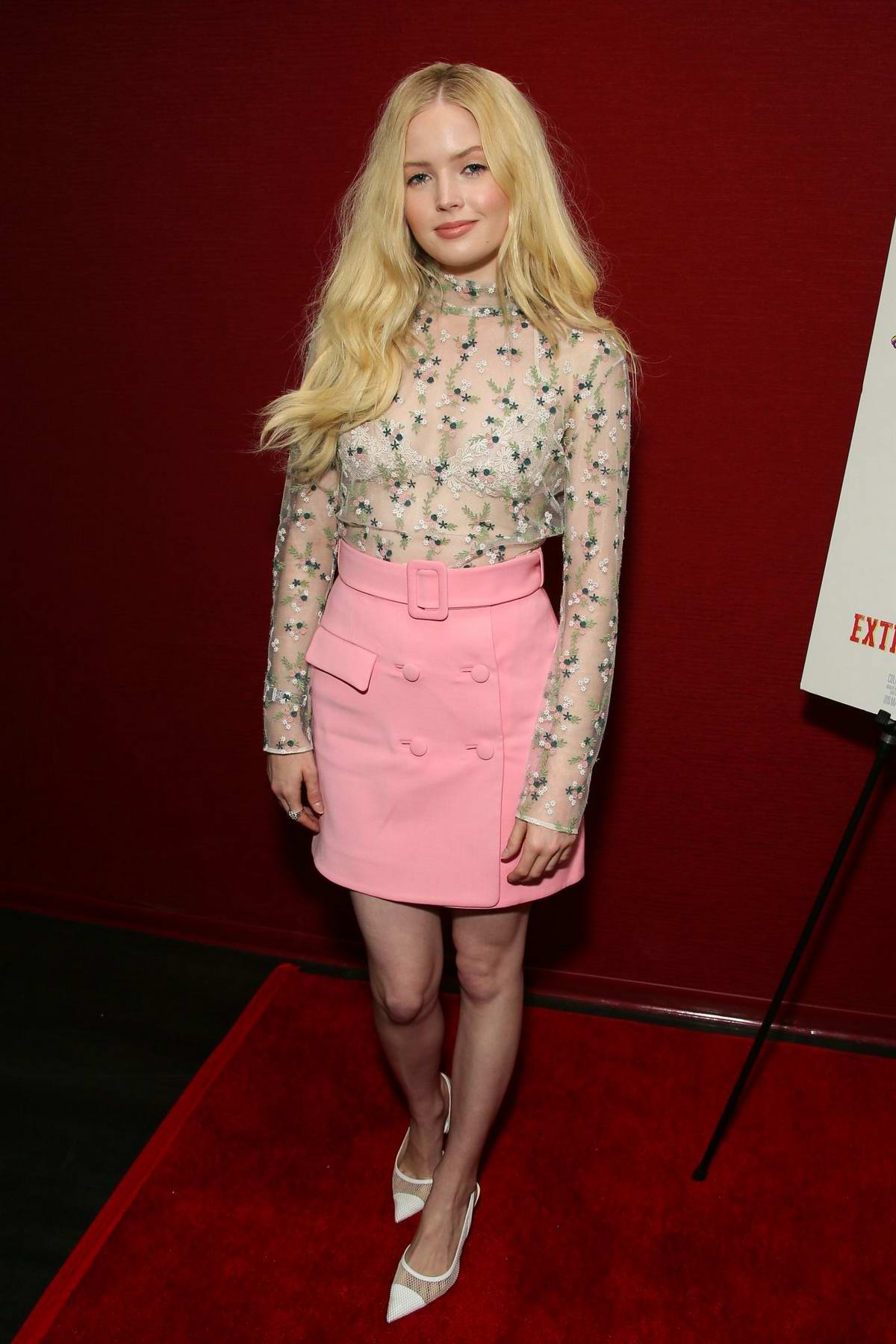 Ellie Bamber attends the LA Premiere of 'Extracurricular Activities' in Santa Monica, California