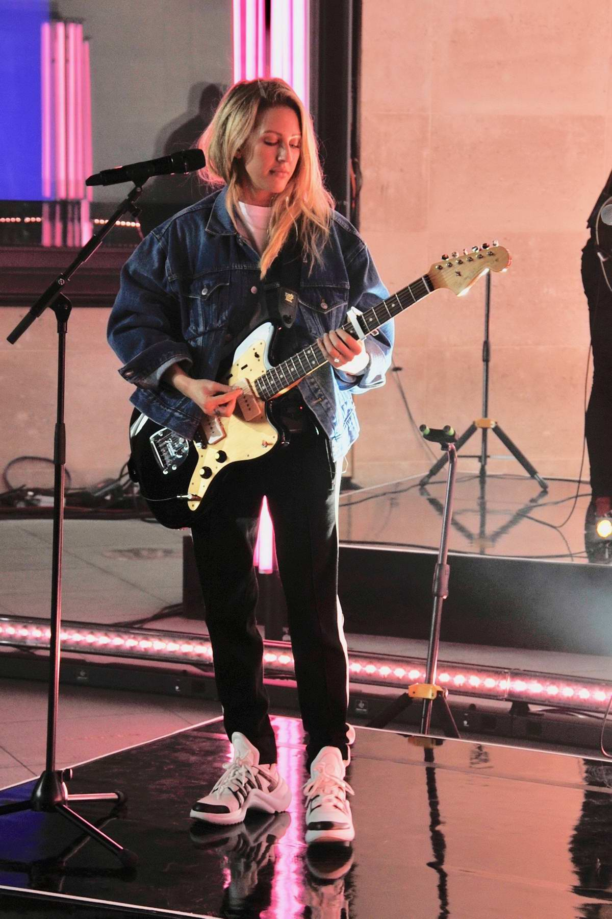 Ellie Goulding performing sound checks at the BBC One Show to promote her new single in London, UK
