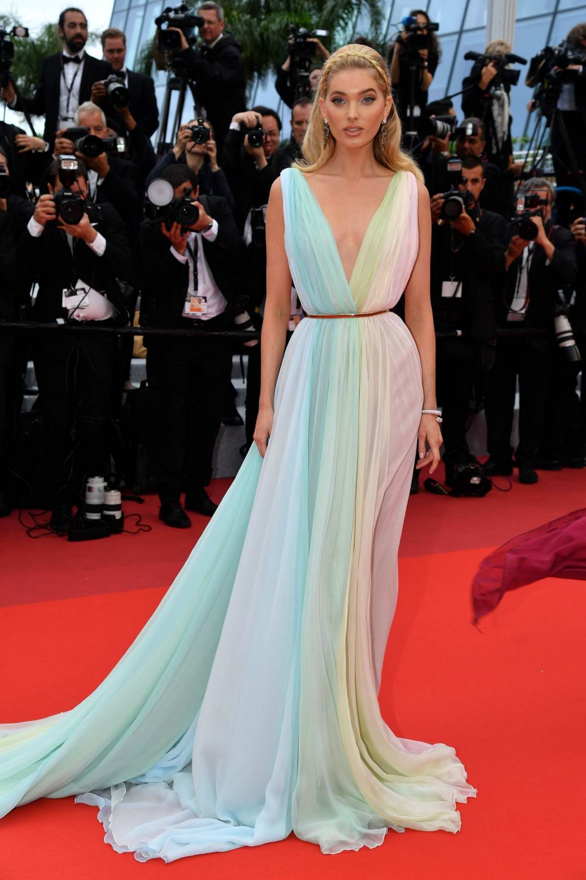 Elsa Hosk attends the screening of 'A Hidden Life' during the 72nd annual Cannes Film Festival in Cannes, France