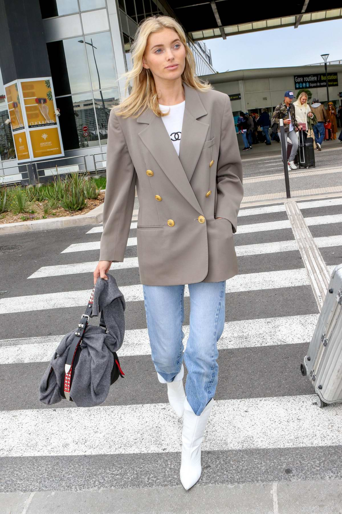 Elsa Hosk keeps it stylish as she touches down at Nice Airport for the 72nd annual Cannes Film Festival, France