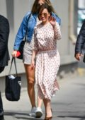 Emilia Clarke arrives in light pink polka dot dress for her appearance on 'Jimmy Kimmel Live!' in Hollywood, California