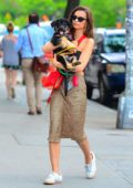 Emily Ratajkowski seen carrying around her new pup while out to lunch at Gemma in New York City