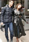 Georgia Fowler spotted in a black leather trench coat during an Elle Magazine photoshoot in New York City