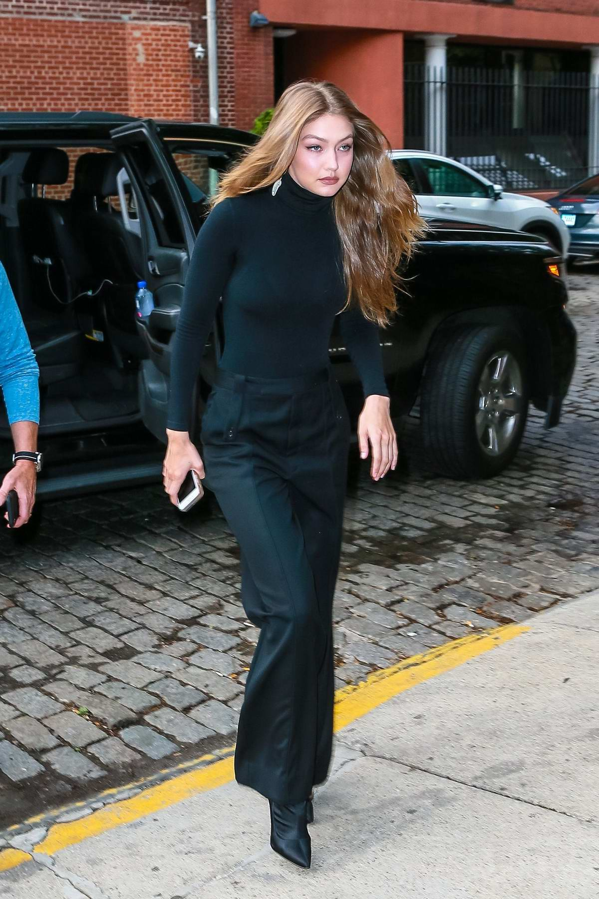 Gigi Hadid dons an all-black ensemble for an event in New York City