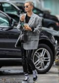 Hailey Baldwin picks up coffee before heading to a day spa in Beverly Hills, Los Angeles