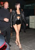 Halsey flaunts her legs in black shorts as she leaves after dinner at Petite Taqueria in West Hollywood, Los Angeles
