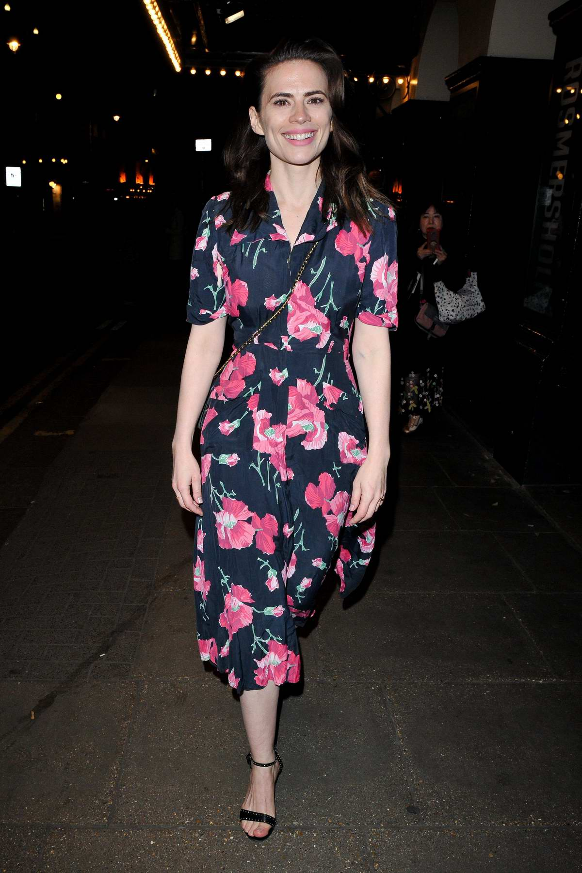 Hayley Atwell spotted in a blue floral dress as she heads out post her performance in 'Rosmersholm' in London, UK