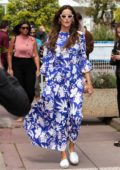 Izabel Goulart looks striking in a blue floral print dress as she steps out during the 72nd annual Cannes Film Festival in Cannes, France