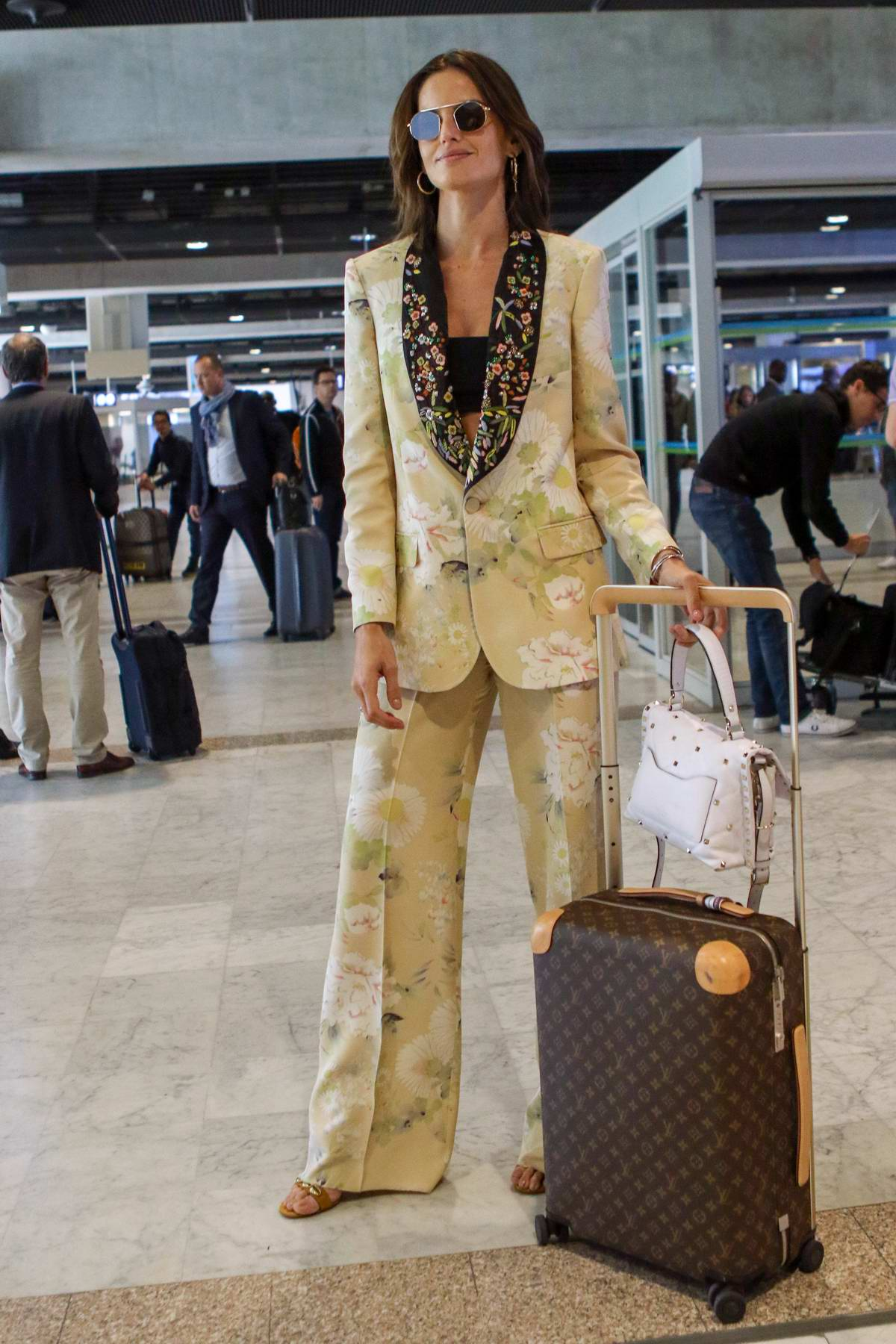 Izabel Goulart makes a stylish arrival at Nice airport ahead of the 72nd Cannes Film Festival, France