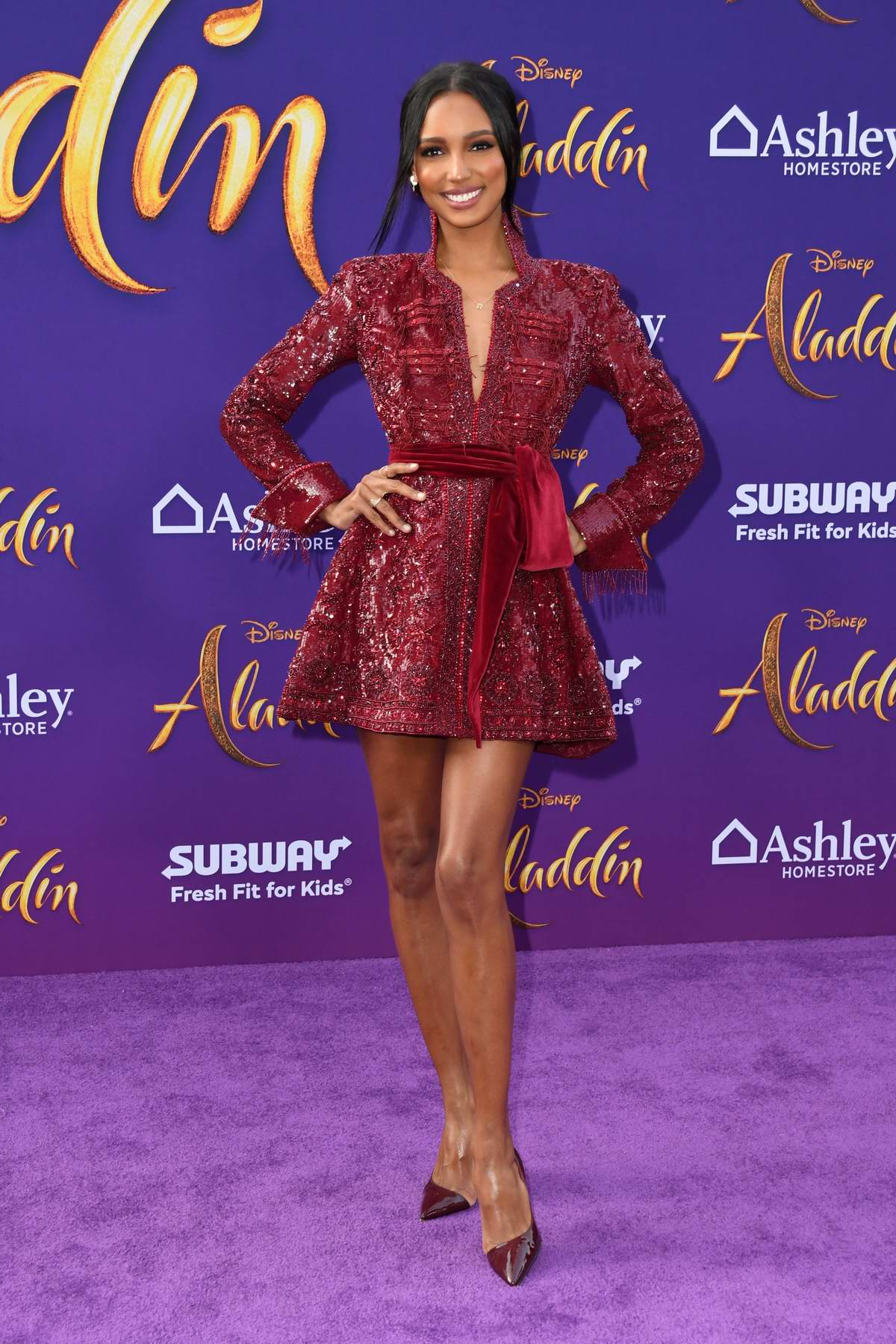Jasmine Tookes attends the World Premiere of Disney's 'Aladdin' at the El Capitan Theater in Hollywood, California