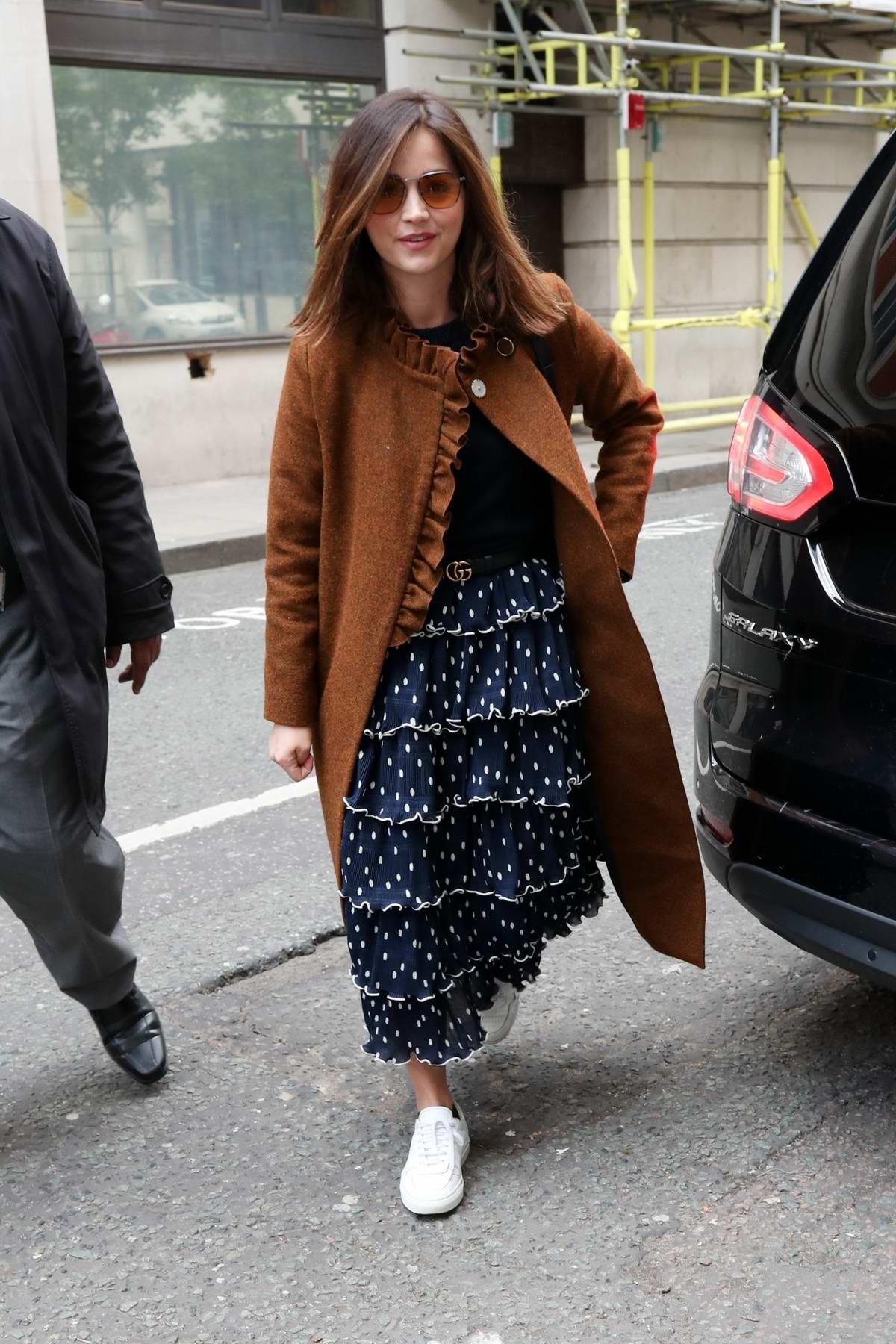 Jenna Coleman arrives for Graham Norton's Radio 2 show in London, UK