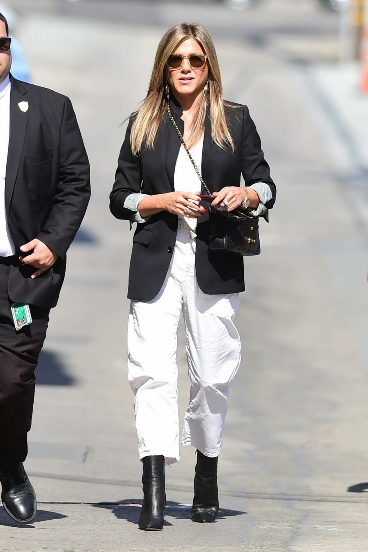 Jennifer Aniston arrives to promote 'Murder Mystery' on Jimmy Kimmel Live! in Hollywood, California