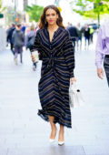 Jessica Alba looks lovely in a striped black dress as she leaves Buzzfeed during her promo tour in New York City