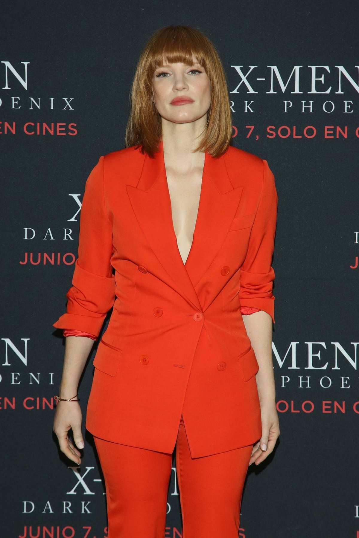 jessica chastain attends a press conference to promote x-men