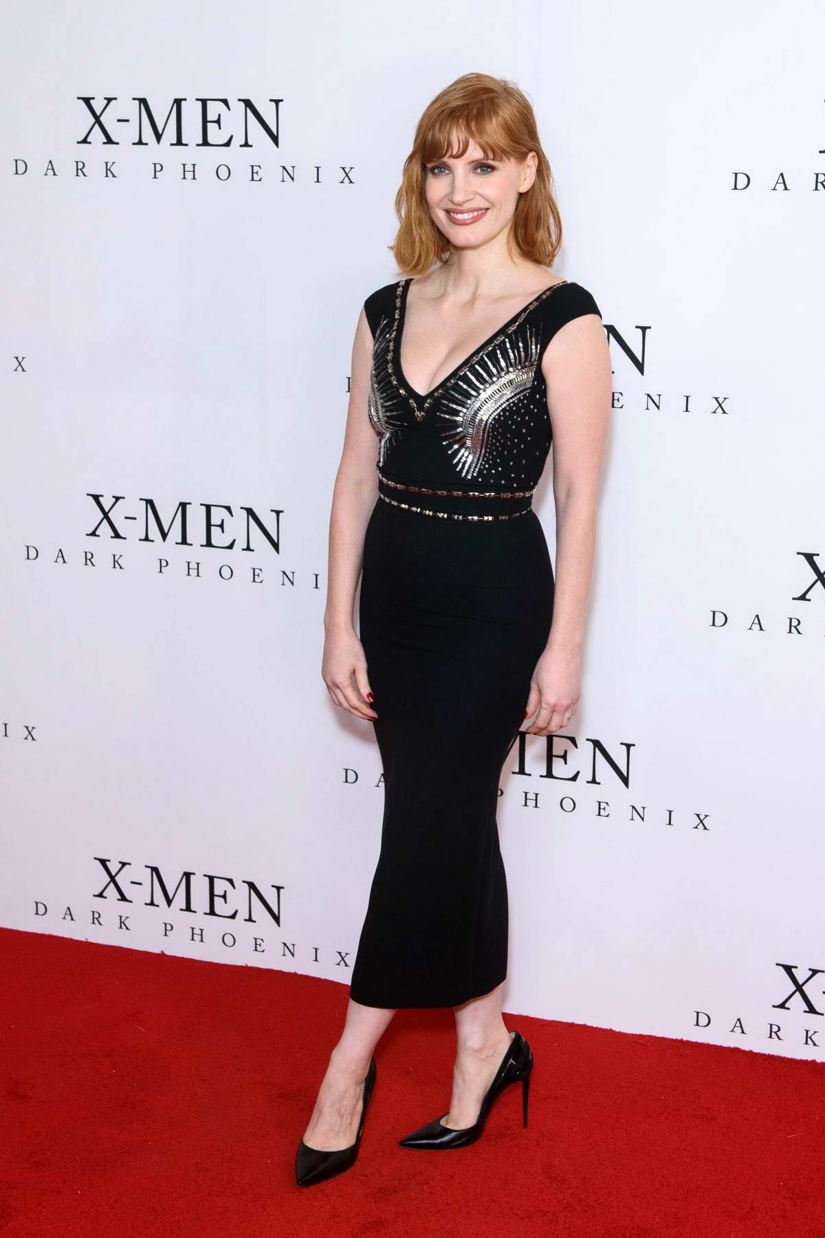 Jessica Chastain attends an exclusive fan event photocall for 'X-Men: Dark Phoenix' at the Picturehouse Central in London, UK