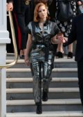 Jessica Chastain dazzles in a shiny black jumpsuit as she leaves her hotel while promoting 'X-Men: Dark Phoenix' in London, UK