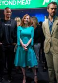 Jessica Chastain speaks with Beyond Meat CEO Ethan Brown at Nasdaq MarketSite in New York City