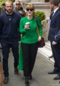 Jessica Chastain wore a green top as she left her hotel to promote 'X-Men: Dark Phoenix' in London, UK